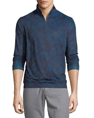 Peter Millar Perth Stretch Camouflage Quarter-Zip Sweatshirt, Slate