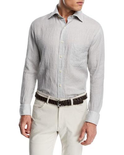 Peter Millar Retro Leaf Linen Sport Shirt
