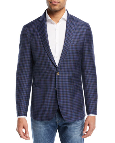 Peter Millar Crown Cool Gingham Soft Jacket, Navy