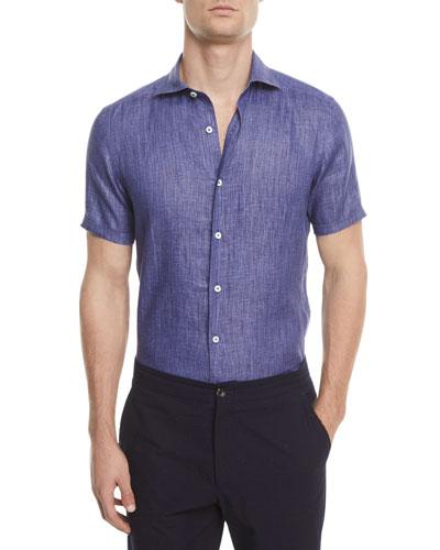 Ermenegildo Zegna Linen Short-Sleeve Sport Shirt