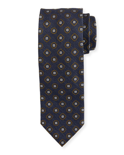 Brioni Medallion Textured Ground Tie