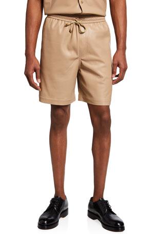 Nanushka Men's Doxxi Vegan-Leather Shorts