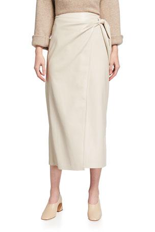 Nanushka Amas Vegan-Leather Wrap Skirt