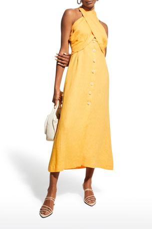 Nanushka Soffio Linen Halter Dress