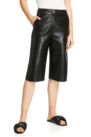 Nanushka Tazu Vegan-Leather Bermuda Shorts