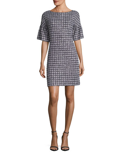 St. John Collection Soft Plaid Tweed Half-Sleeve Dress