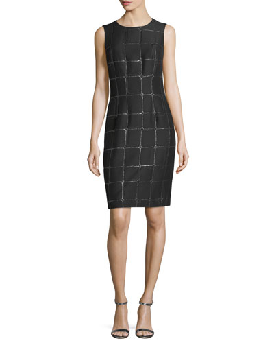 St. John Collection Metallic Jacquard Cocktail Sheath Dress
