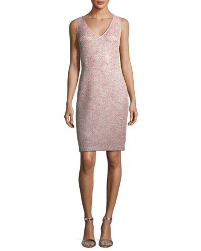 St. John Collection Metallic Eyelash-Knit Cocktail Sheath Dress