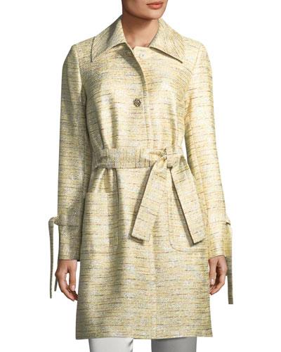 St. John Collection Metallic Tweed Belted Coat
