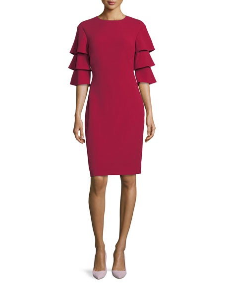 3-Tier-Sleeve Crepe Sheath Cocktail Dress