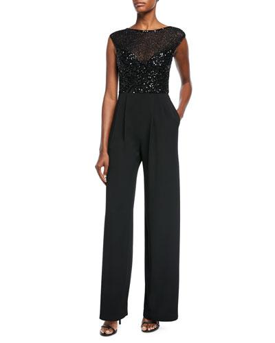 Parker Black Celia Sequin Combo Jumpsuit