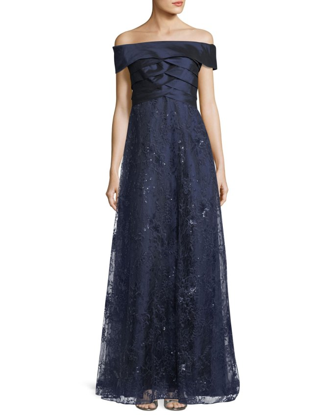 Rickie Freeman for Teri JonOff-the-Shoulder Shutter A-Line Gown