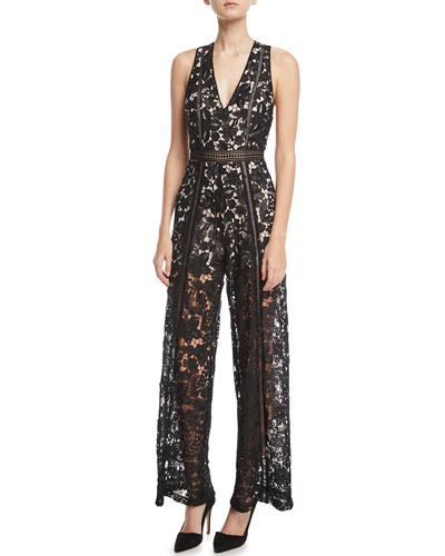 Alice + Olivia Chels Deep-V Sleeveless Wide-Leg Lace Jumpsuit