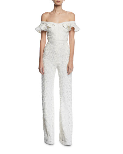 Alexis Edlyn Off-the-Shoulder Lace Jumpsuit