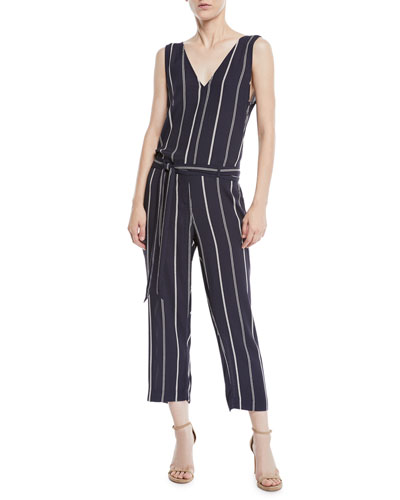 Rails Hallie Striped Cropped Belted V-Neck Jumpsuit