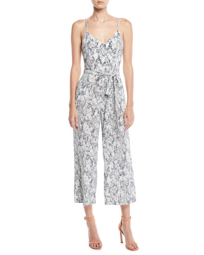 L'Agence Jaelyn V-Neck Camisole Straight-Leg Animal-Print Silk Jumpsuit