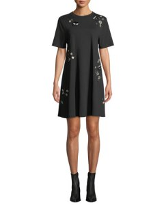 McQ by Alexander McQueen at Neiman Marcus Embellished Crewneck Babydoll Dress