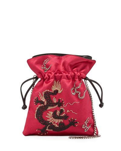 Les Petits Joueurs Trilly Dragoon Satin Bucket Bag, Fuchsia
