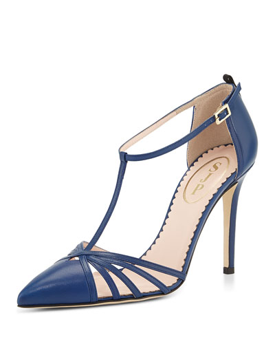 SJP by Sarah Jessica Parker  Carrie Leather T-Strap Pumps in Navy Blue