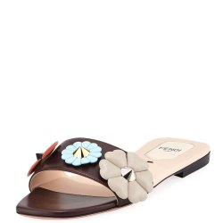 7d756eb54 Fendi Three Flower Flat Slide Sandal
