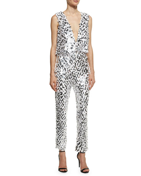Caroline Sequined Crop Jumpsuit, White