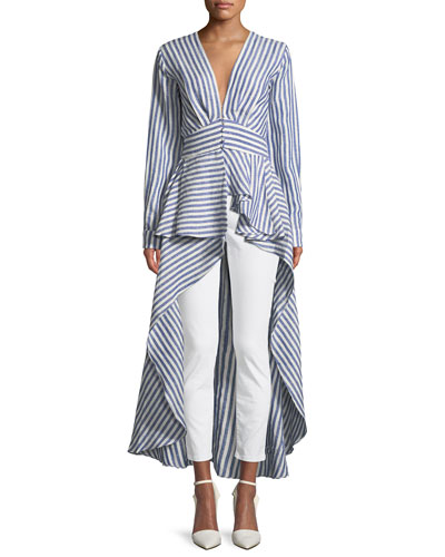 Johanna Ortiz Rio Grande Striped Floor-Length Linen Blouse