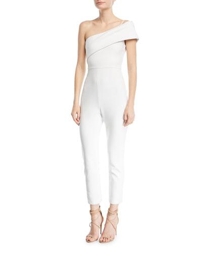 Cushnie Et Ochs One-Shoulder Straight-Leg Crepe Jumpsuit