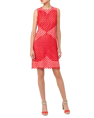 Akris Sleeveless Round-Neck Guipure Sheath Dress