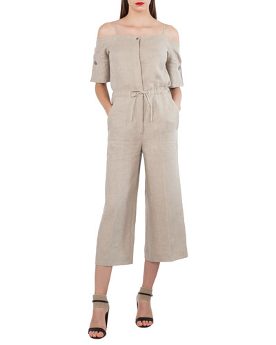 Akris Open-Shoulder Elbow-Sleeve Lined Wide-Leg Jumpsuit