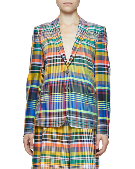 dries-van-noten Belma Madras-Plaid Two-Button Blazer perfect for the office