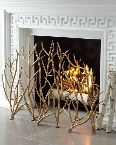 Fireplace Screens Golden Branches Neiman Marcus Shopping Department Store Fire Gold Metallic Home Decor Accents Interior Design
