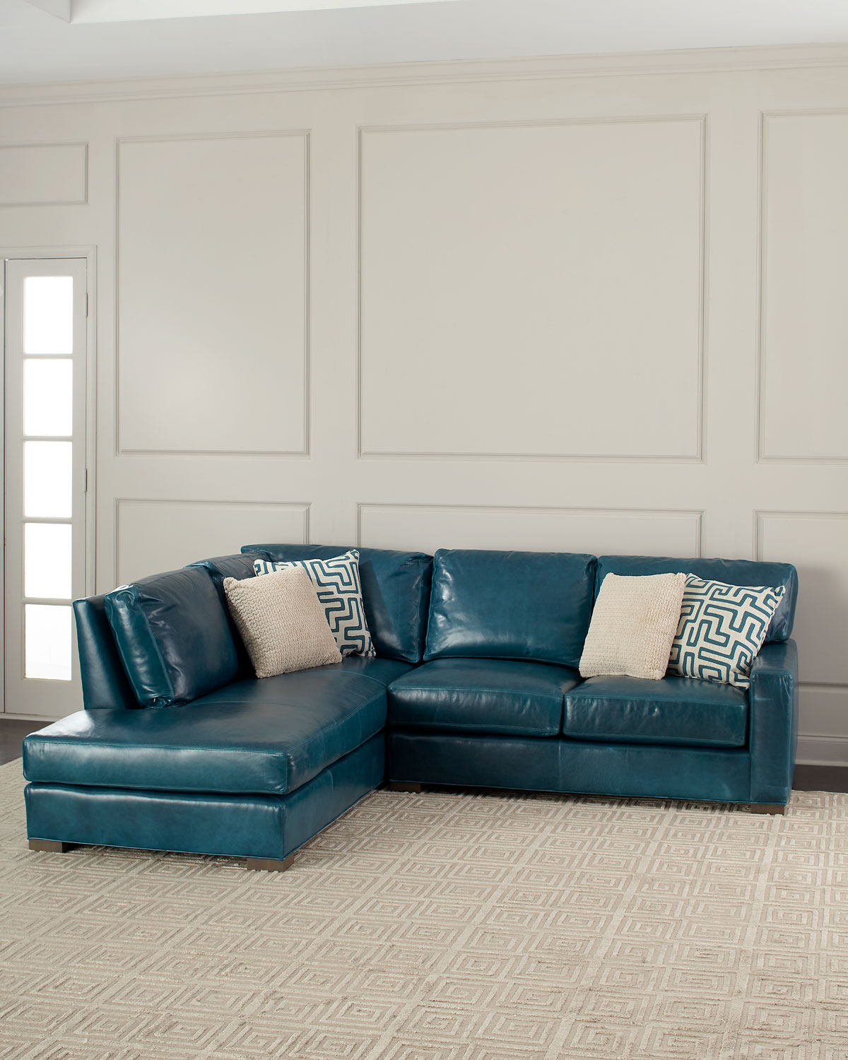 shariah leather left chaise sectional 102