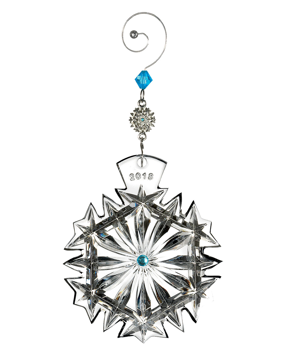 Waterford Crystal 2018 Snowflake Wishes Happiness Christmas Ornament Neiman Marcus
