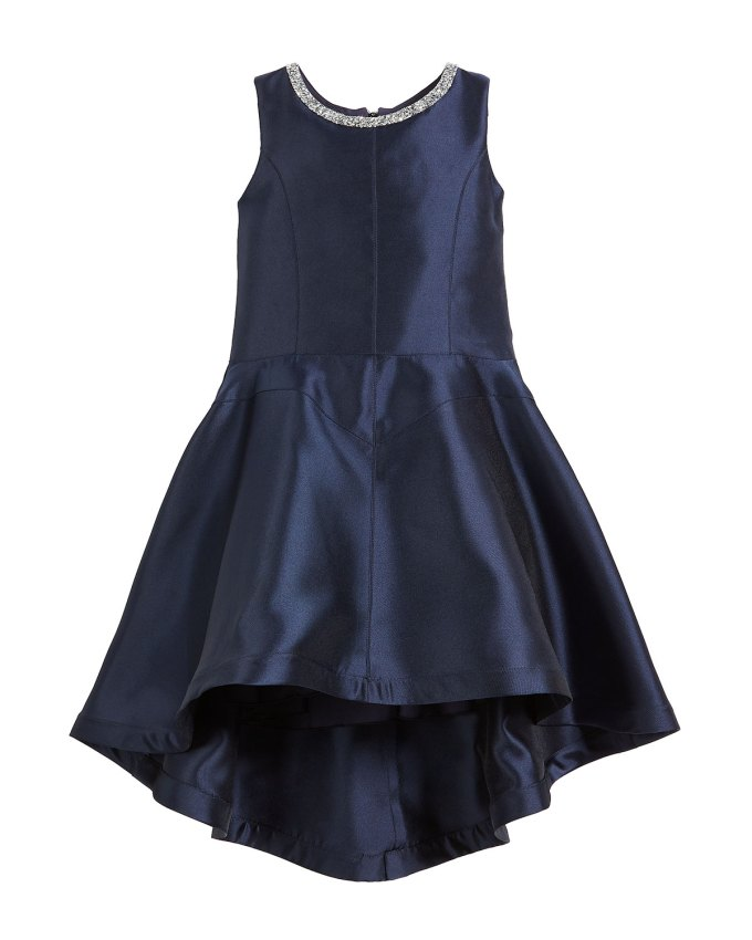 ZoeKate High-Low Matte Sateen Dress w/ Crystal Collar, Size 7-16
