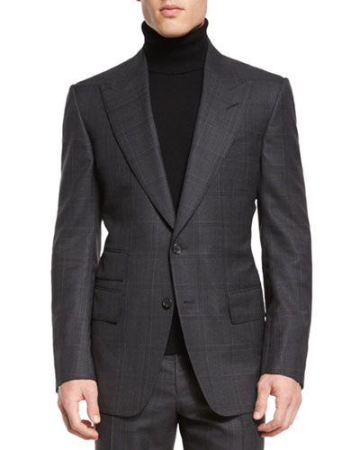 TOM FORD Windsor Base Windowpane Two-Piece Suit, Gray