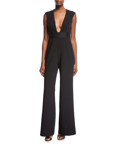 Jay Godfrey Rhodes Plunging-Neck Banded Jumpsuit