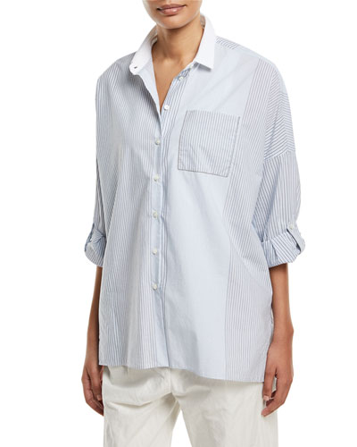 Brunello Cucinelli Cotton Variegated-Stripe Button-Down Blouse