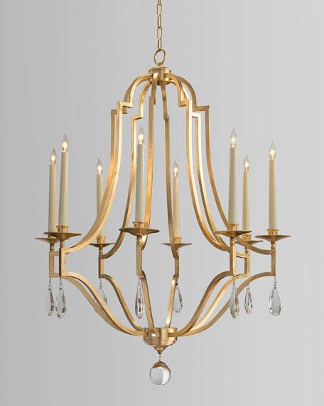 Gold Leaf Crystal 8 Light Chandelier