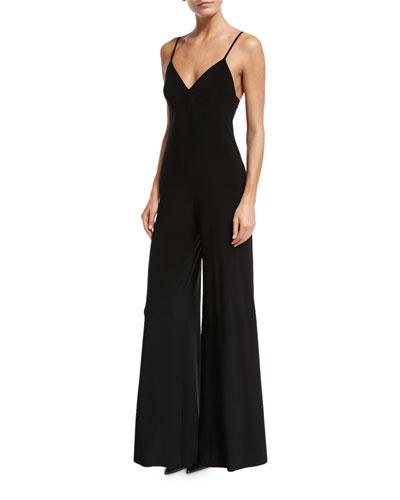 Norma Kamali Wide-Leg Slip Jumpsuit, Black