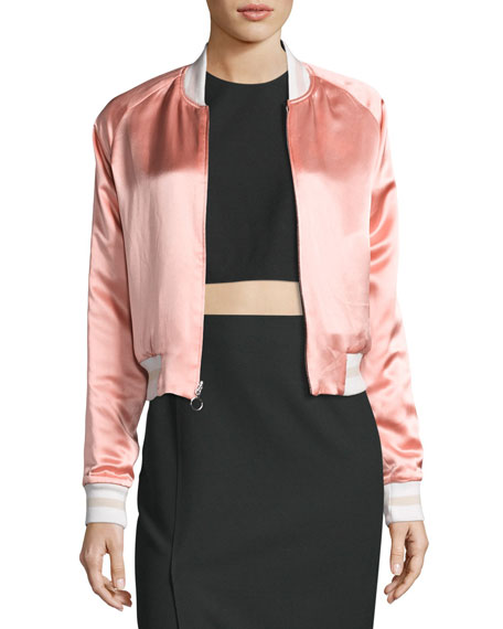 Willa Reversible Embroidered Colorblock Bomber Jacket, Black/Pink