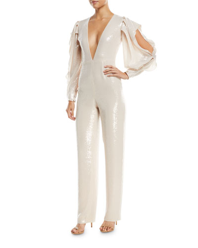 Rubin Singer Plunging Sequined Straight-Leg Jumpsuit with Slit Sleeves