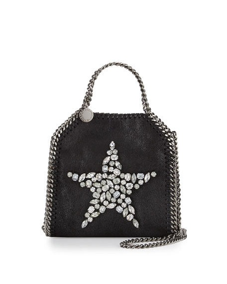 Falabella Tiny Star Shoulder Bag, Black