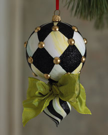MacKenzie-Childs Harlequin Double Drop Christmas Ornament