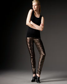 Alice + Olivia Sequin Mesh Leggings