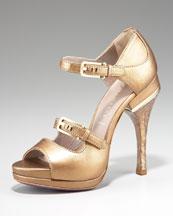 Versace Metallic Open-Toe Mary Jane