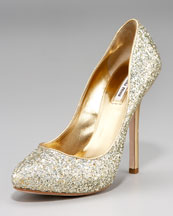 Miu Miu Glitter Pump with Hidden Platform