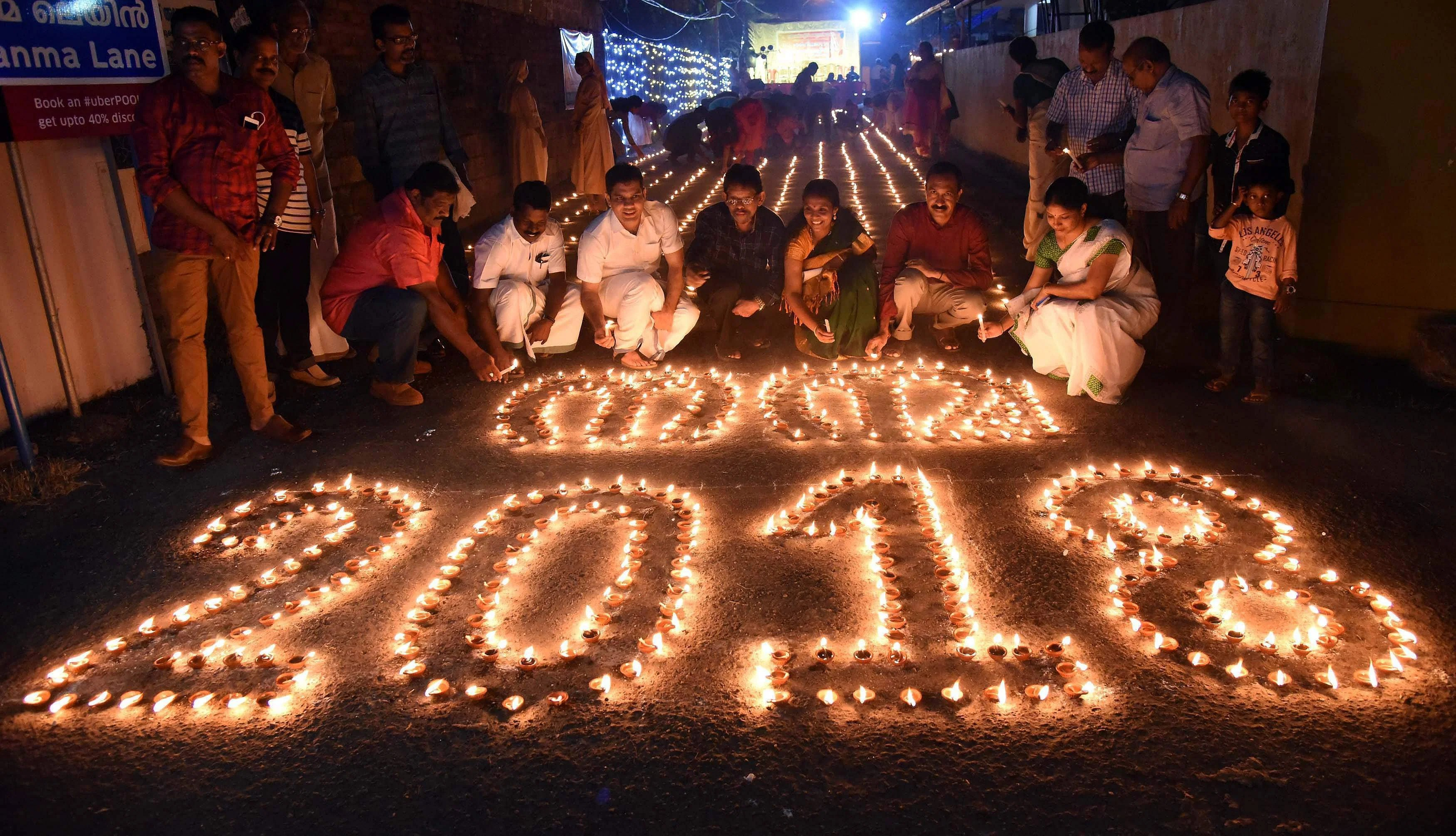 Celebrations across country  India welcomes New Year 2018  The New     Kochi  A New year celebration Nanma 2018 at Puthukkalavattom on Sunday    Photo   PTI