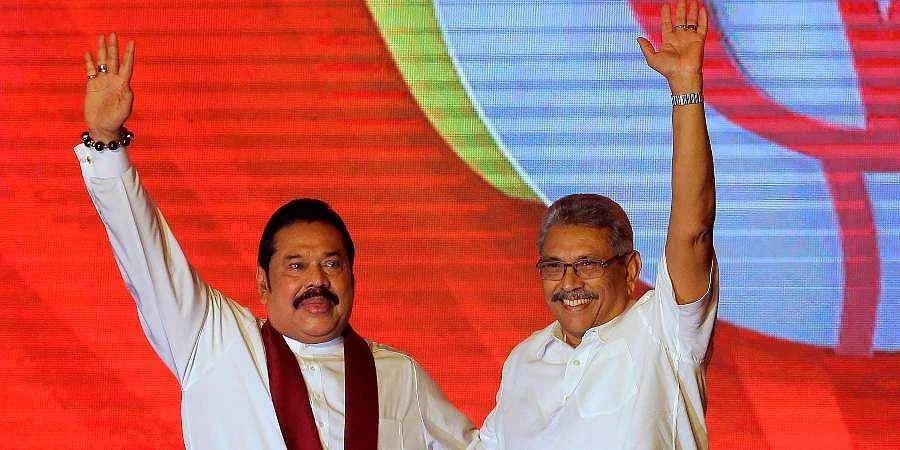 Sri Lankan President Gotabaya Rajapaksa with his elder brother Mahinda Rajapaksa.