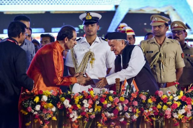 File photo of Maharashtra Governor BS Koshyari greeting Uddhav Thackeray during the latter's swearing-in as the chief minister.