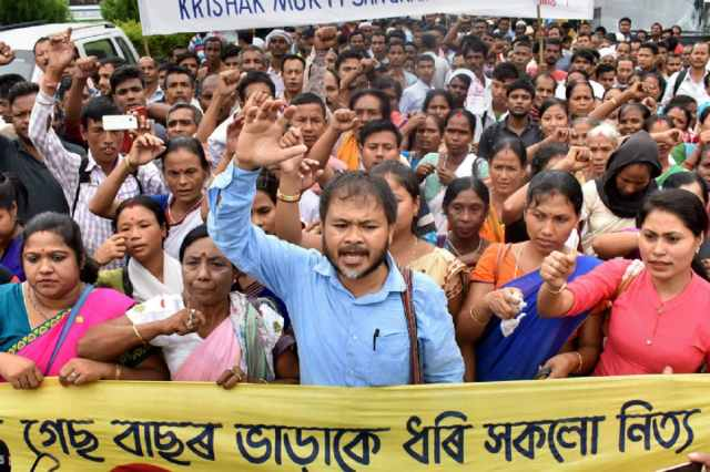File photo of KMSS advisor Akhil Gogoi with activists during a protest rally in Guwahati (PTI)